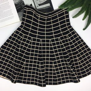 Anthro Lapis Black & Cream Windowpane Knit Skirt